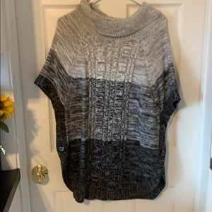 Black grey and white sweater poncho